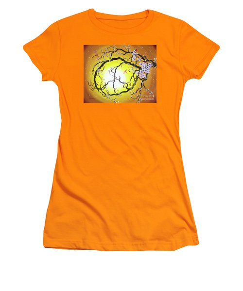 Peace Tree In Golden Glow  Women's T-Shirt (Athletic Fit)