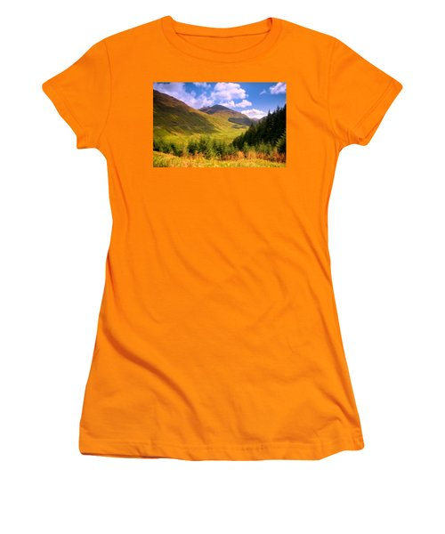 Peaceful Sunny Day In Mountains. Rest And Be Thankful. Scotland Women's T-Shirt (Junior Cut) by Jenny Rainbow