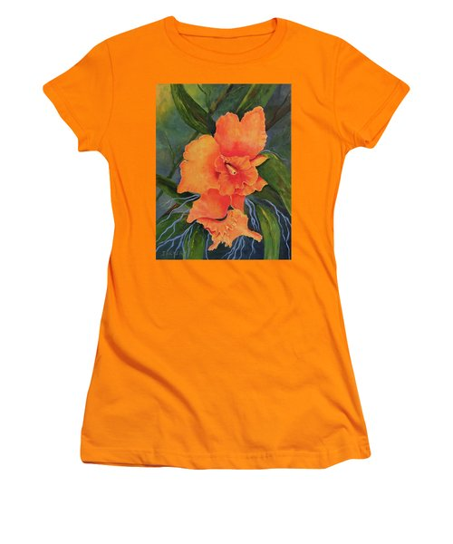 Peach  Blush Orchid Women's T-Shirt (Athletic Fit)