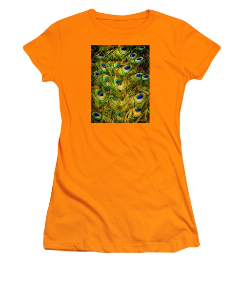 Women's T-Shirt (Junior Cut) featuring the photograph Peacock Tails by Rikk Flohr