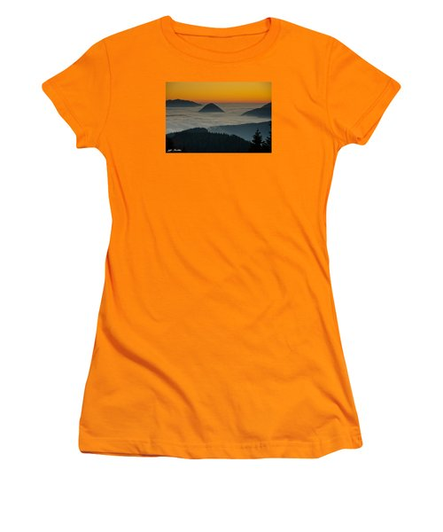 Peaks Above The Fog At Sunset Women's T-Shirt (Junior Cut) by Jeff Goulden
