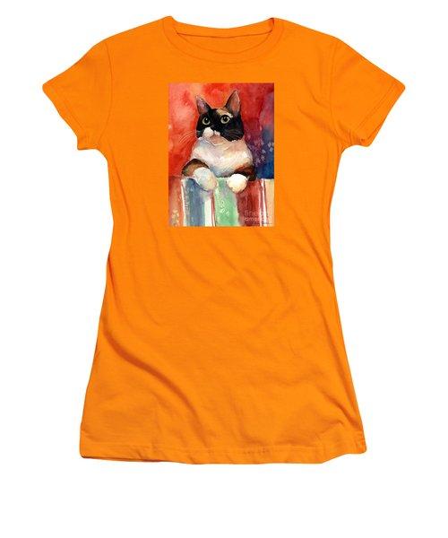 Pensive Calico Tubby Cat Watercolor Painting Women's T-Shirt (Junior Cut) by Svetlana Novikova