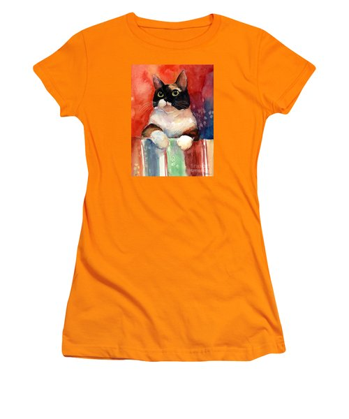 Pensive Calico Tubby Cat Watercolor Painting Women's T-Shirt (Athletic Fit)