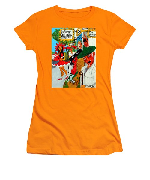 Women's T-Shirt (Junior Cut) featuring the painting Pneumatic Girl At The Railroad Station by Don Pedro De Gracia