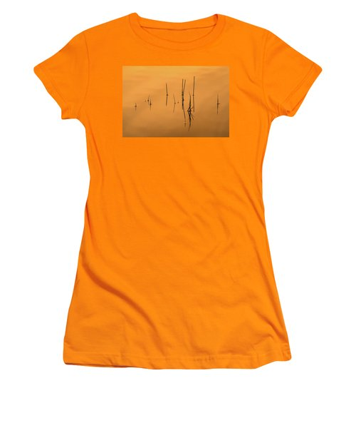 Pond Reeds In Reflected Sunrise Women's T-Shirt (Athletic Fit)