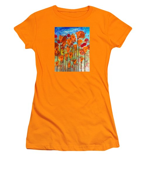 Poppies Make Me Happy Women's T-Shirt (Athletic Fit)