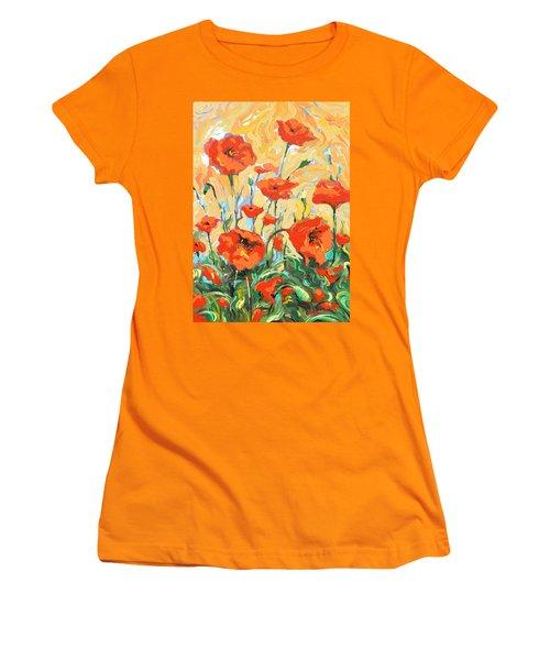Poppies On A Yellow            Women's T-Shirt (Junior Cut) by Dmitry Spiros