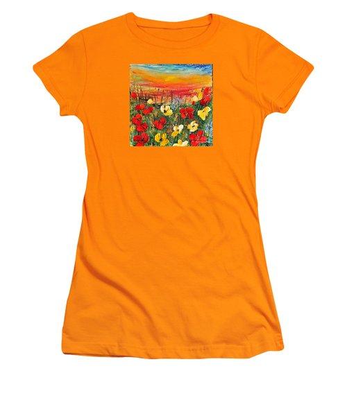Poppies Women's T-Shirt (Junior Cut) by Teresa Wegrzyn