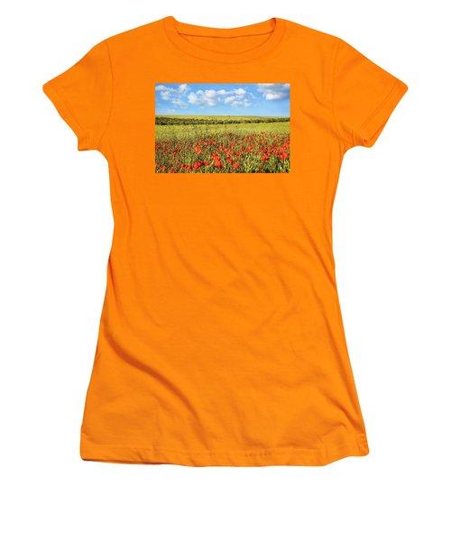Women's T-Shirt (Junior Cut) featuring the photograph Poppy Fields by Marion McCristall