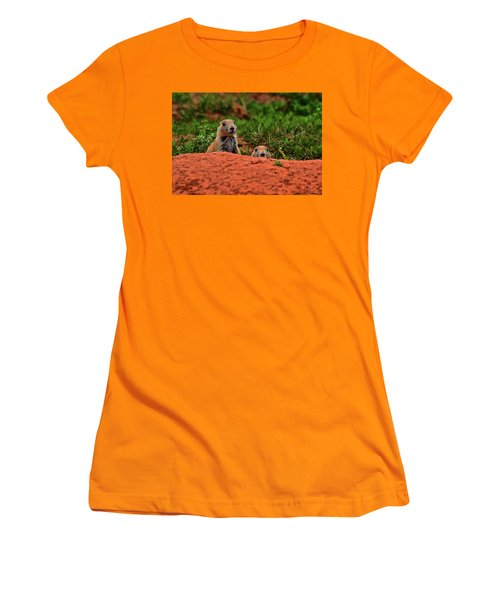 Women's T-Shirt (Junior Cut) featuring the photograph Prairie Dogs 004 by George Bostian