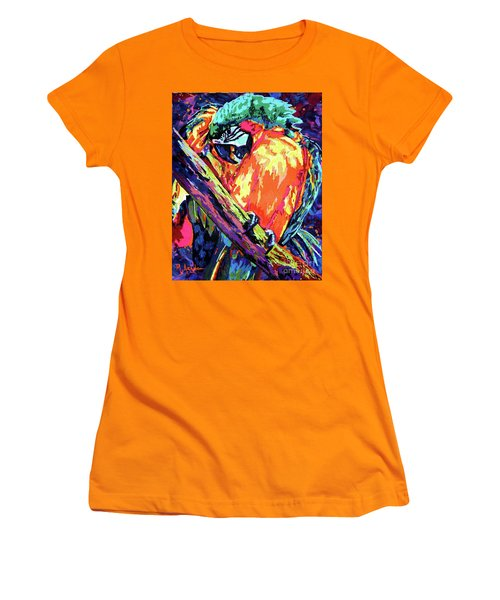 Preening Macaw Women's T-Shirt (Junior Cut) by Maria Arango