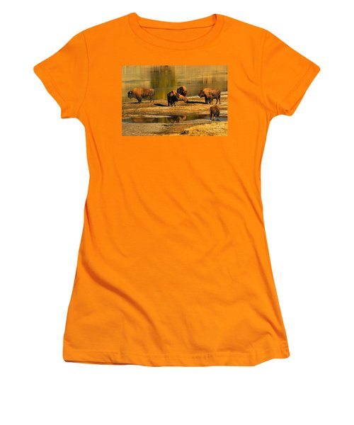 Women's T-Shirt (Junior Cut) featuring the photograph Preparing To Cross The Yellowstone River by Adam Jewell