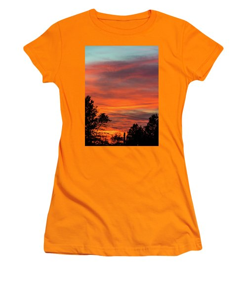 Women's T-Shirt (Junior Cut) featuring the photograph Princeton Junction Sunset by Steven Richman
