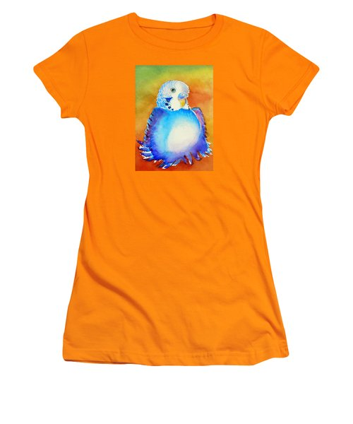 Pudgy Budgie Women's T-Shirt (Junior Cut) by Patricia Piffath