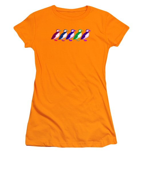 Puffins Apparel Design Women's T-Shirt (Junior Cut) by Teresa Ascone