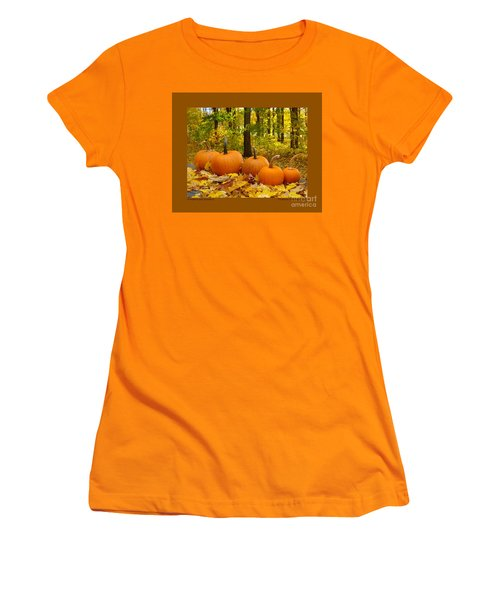 Women's T-Shirt (Junior Cut) featuring the photograph Pumpkins And Woods-iii by Patricia Overmoyer