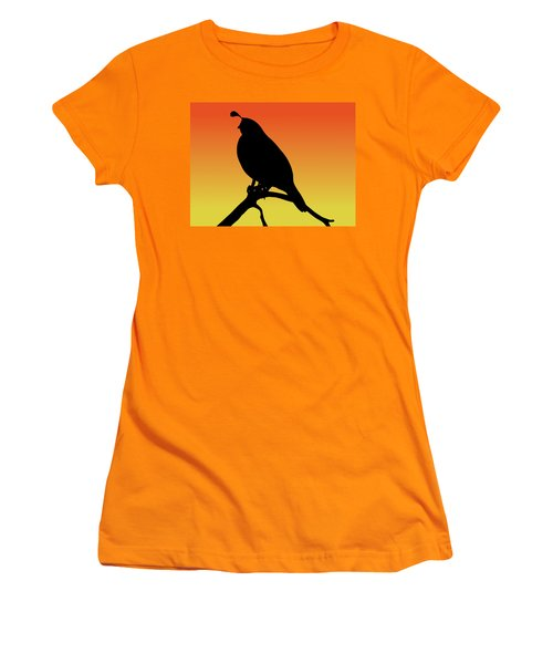 Quail Silhouette At Sunset Women's T-Shirt (Athletic Fit)