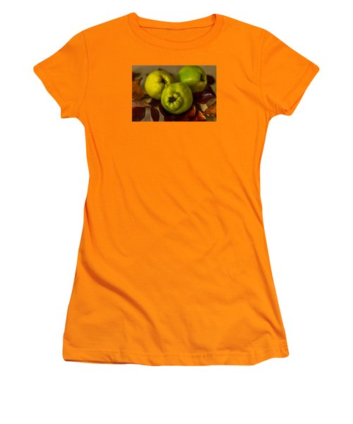 Women's T-Shirt (Junior Cut) featuring the photograph Quince Still Life by Sabine Edrissi