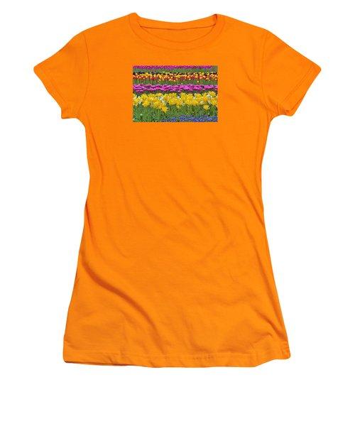 Rainbow Flowers Women's T-Shirt (Athletic Fit)