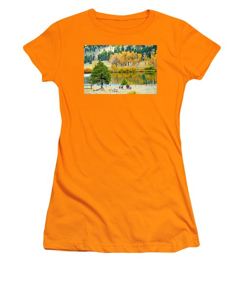 Ranch Pond In Autumn Women's T-Shirt (Athletic Fit)