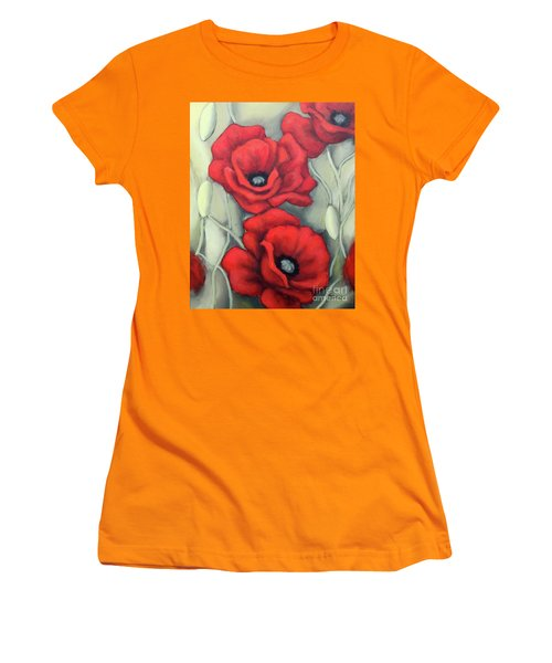 Women's T-Shirt (Junior Cut) featuring the painting Red And Grey by Inese Poga