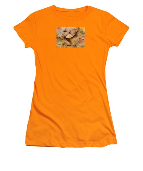 Women's T-Shirt (Junior Cut) featuring the painting Red Deer by Hailey E Herrera