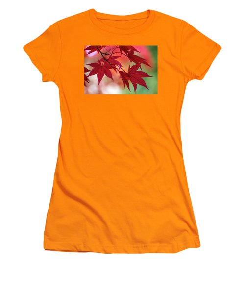 Women's T-Shirt (Athletic Fit) featuring the photograph Red Leaves by Clare Bambers