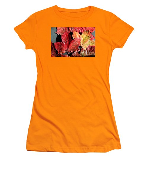 Women's T-Shirt (Junior Cut) featuring the photograph Red Maple Leaves Digital Painting by Barbara Griffin