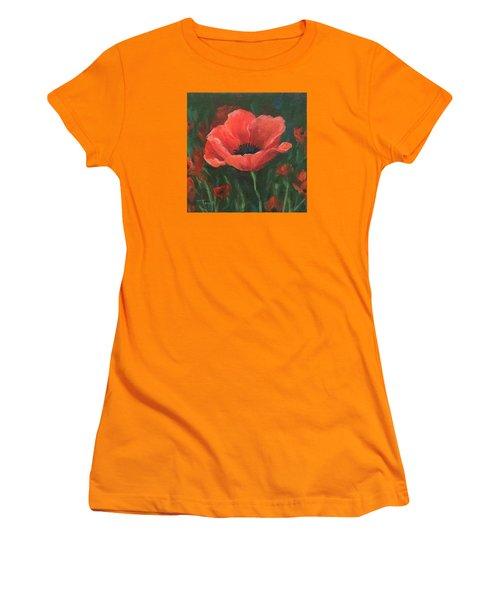 Red Poppy Women's T-Shirt (Junior Cut) by Torrie Smiley