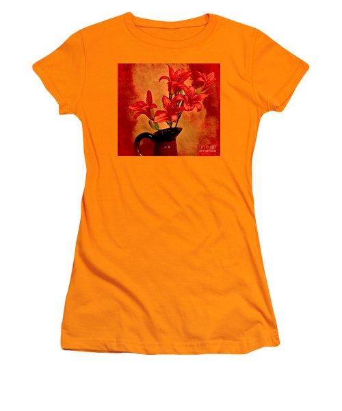 Red Tigerlilies In A Pitcher Women's T-Shirt (Junior Cut) by Marsha Heiken