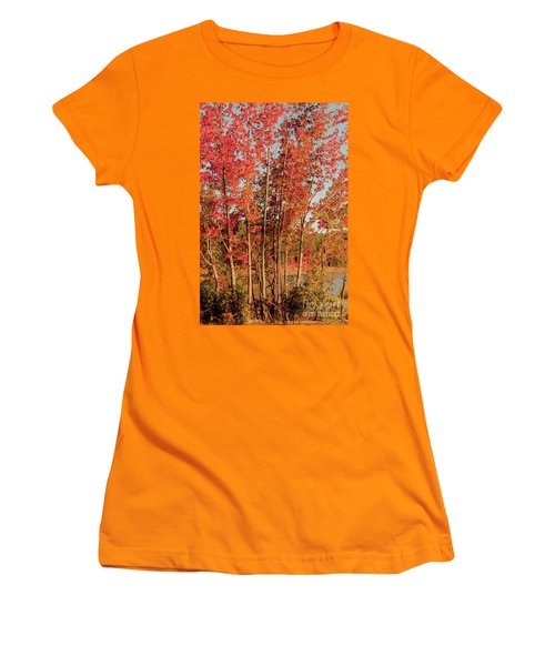 Women's T-Shirt (Junior Cut) featuring the photograph Red Trees by Iris Greenwell