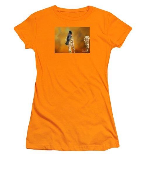Red Winged Blackbird Women's T-Shirt (Junior Cut) by Suzanne Handel