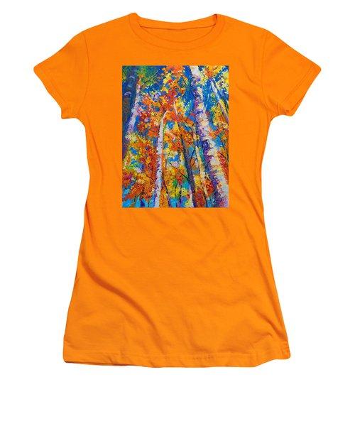Redemption - Fall Birch And Aspen Women's T-Shirt (Junior Cut) by Talya Johnson