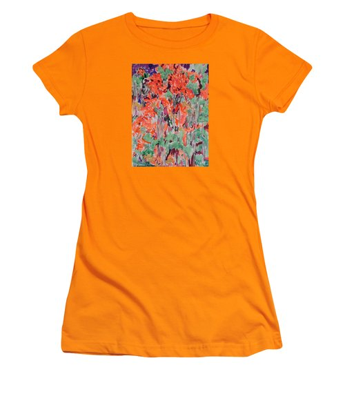 Regal Red Fall Foliage Women's T-Shirt (Junior Cut) by Esther Newman-Cohen