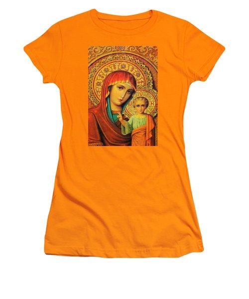Religion In Red Women's T-Shirt (Junior Cut) by Munir Alawi