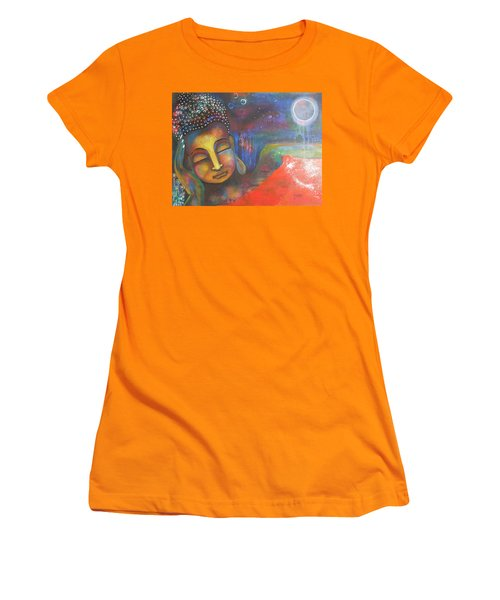 Buddha Resting Under The Full Moon  Women's T-Shirt (Athletic Fit)