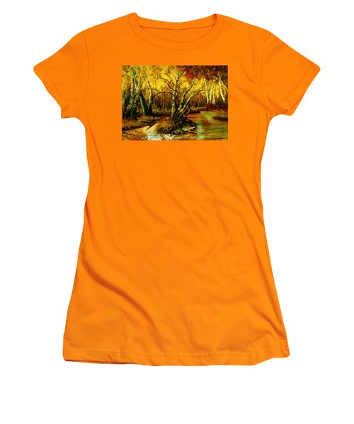 Women's T-Shirt (Junior Cut) featuring the painting River In The Forest by Henryk Gorecki