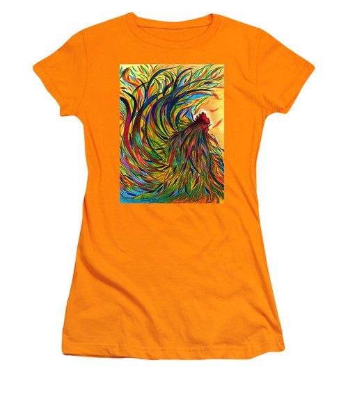 Roosters Frienship Women's T-Shirt (Junior Cut) by Fanny Diaz