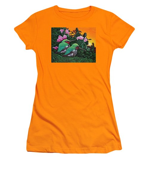 Ruby-throated Hummingbirds Women's T-Shirt (Junior Cut) by Michael Frank