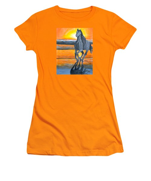 Women's T-Shirt (Junior Cut) featuring the painting Run Free by Donna Blossom