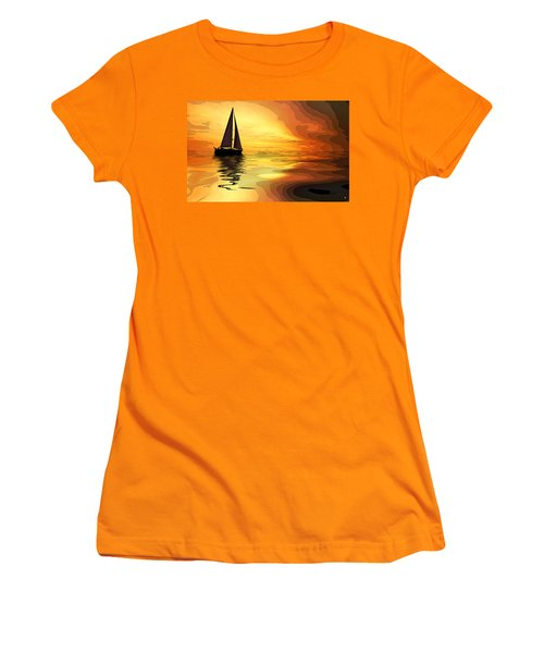 Sailboat At Sunset Women's T-Shirt (Junior Cut) by Charles Shoup