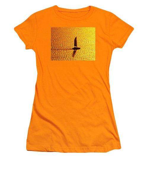 Women's T-Shirt (Junior Cut) featuring the photograph Sailing On Gold by Ana Maria Edulescu