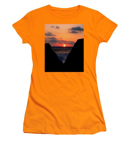 San Clemente Beach Rock View Sunset Portrait Women's T-Shirt (Junior Cut) by Matt Harang