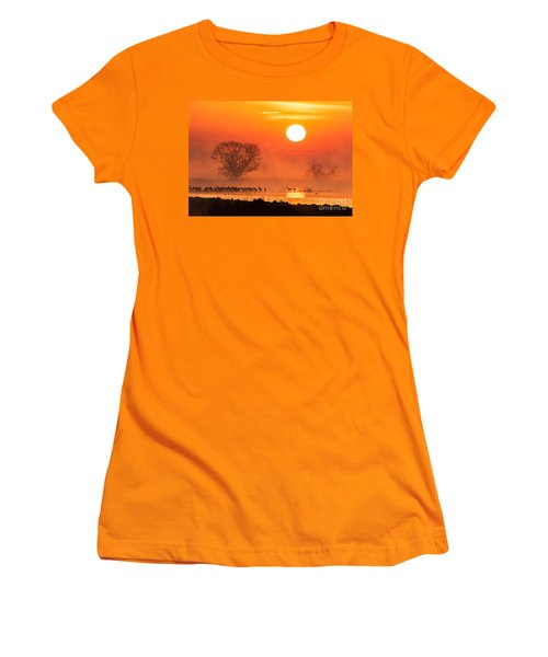 Sandhill Cranes In The Misty Sunrise Women's T-Shirt (Athletic Fit)