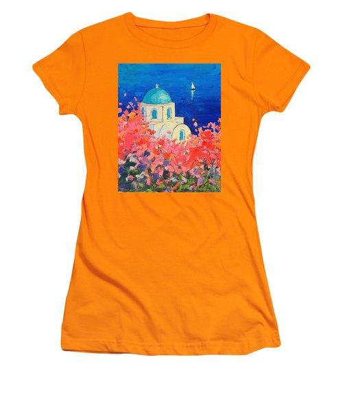 Santorini Impression - Full Bloom In Santorini Greece Women's T-Shirt (Junior Cut) by Ana Maria Edulescu