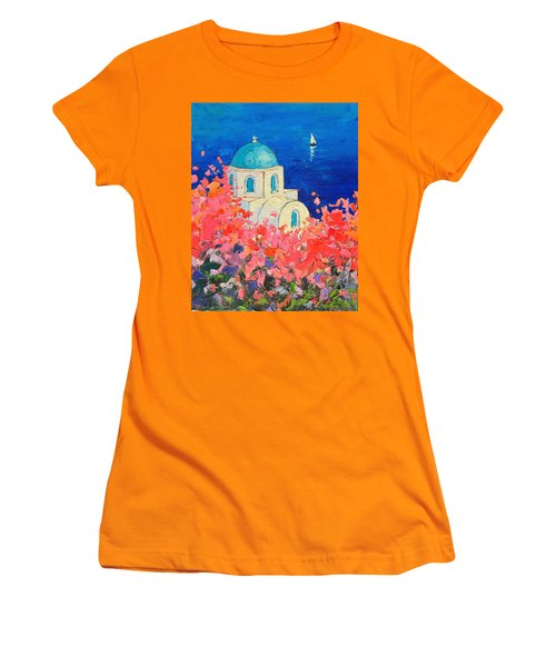 Santorini Impression - Full Bloom In Santorini Greece Women's T-Shirt (Athletic Fit)