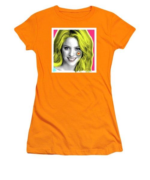 Shakira, Pop Art, Pop Art, Portrait, Contemporary Art On Canvas, Famous Celebrities Women's T-Shirt (Athletic Fit)