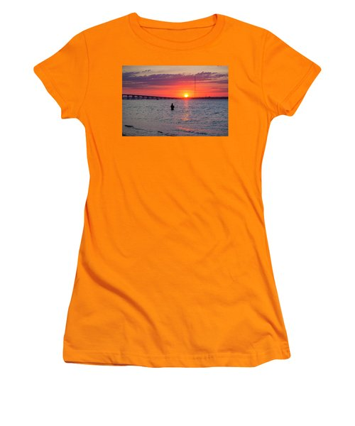 Shinnecock Fisherman At Sunset Women's T-Shirt (Athletic Fit)