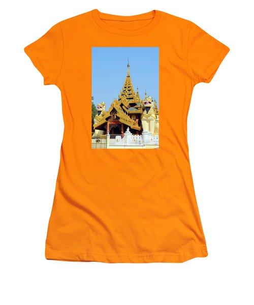 Women's T-Shirt (Junior Cut) featuring the digital art Shwedagon Pagoda 1 by Eva Kaufman