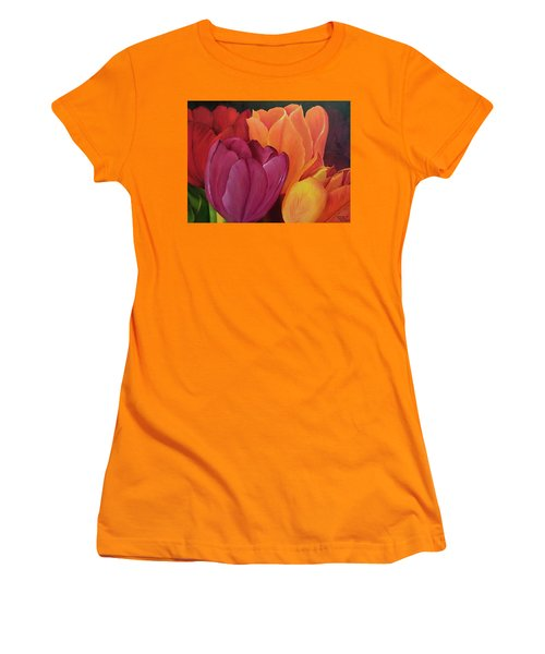 Silky Tulips Unite  Women's T-Shirt (Athletic Fit)